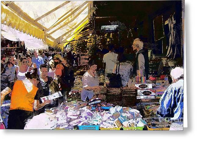 Crete Greeting Cards - Open-Air Market Greeting Card by James Stanfield
