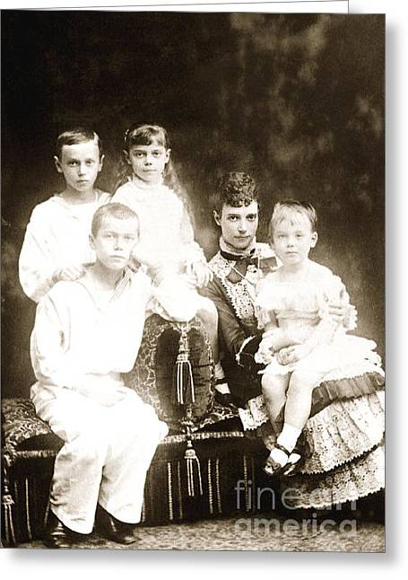 Alexandrovich Greeting Cards - 245. Empress Maria Feodorovna Tsarevich Nicholas Grand Duke George Grand Duchess Xenia GD Michael  Greeting Card by Royal Portraits