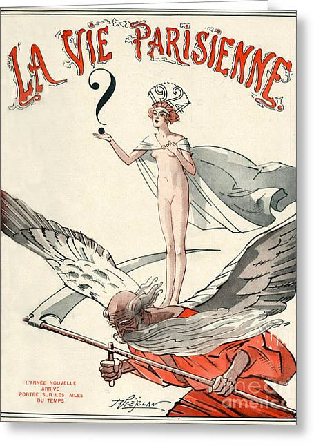 New Year Drawings Greeting Cards - 1920s France La Vie Parisienne Magazine Greeting Card by The Advertising Archives