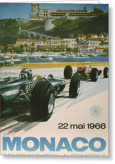 Motor Greeting Cards - 24th Monaco Grand Prix 1966 Greeting Card by Nomad Art And  Design