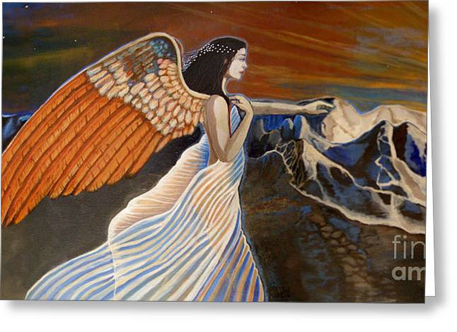Seraphim Angel Greeting Cards - 24x48 Earthbound-Final Cut Greeting Card by Dia T