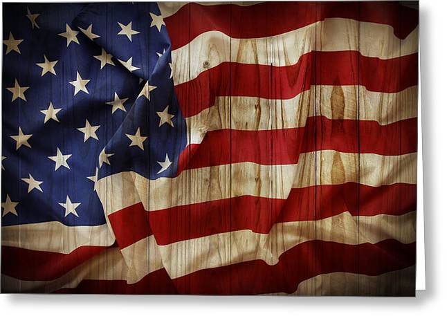 Board Fence Greeting Cards - American flag Greeting Card by Les Cunliffe