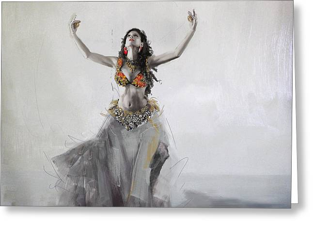 Belly Greeting Cards - Belly Dancer 5 Greeting Card by Corporate Art Task Force