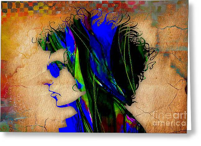 Singer Greeting Cards - Bob Dylan Greeting Card by Marvin Blaine