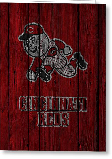 Recently Sold -  - Baseball Glove Greeting Cards - Cincinnati Reds Greeting Card by Joe Hamilton
