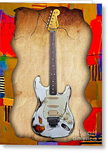 Fender Strat Greeting Cards - Fender Stratocaster Collection Greeting Card by Marvin Blaine