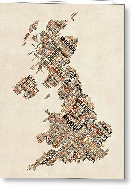 Cartography Digital Greeting Cards - Great Britain UK City Text Map Greeting Card by Michael Tompsett