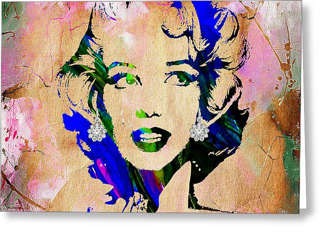 Pop Mixed Media Greeting Cards - Marilyn Monroe Diamond Earring Collection Greeting Card by Marvin Blaine
