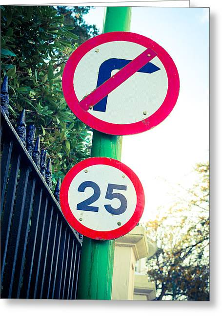 Mile Road Greeting Cards - 25 Mph Road Sign Greeting Card by Tom Gowanlock