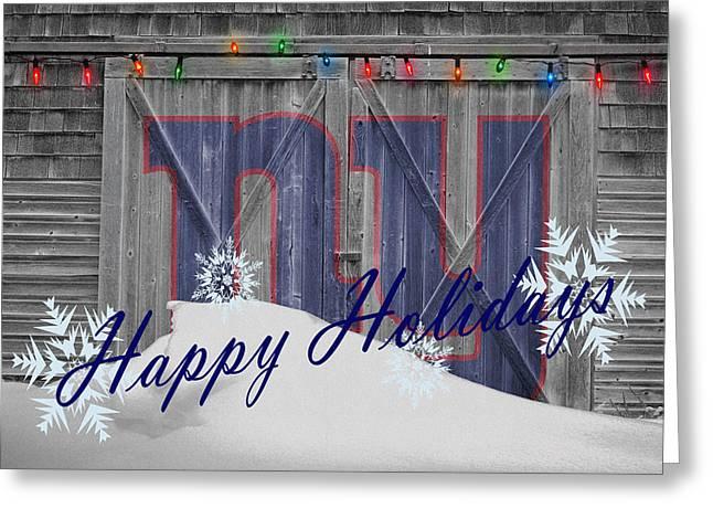 Christmas Greeting Cards - New York Giants Greeting Card by Joe Hamilton