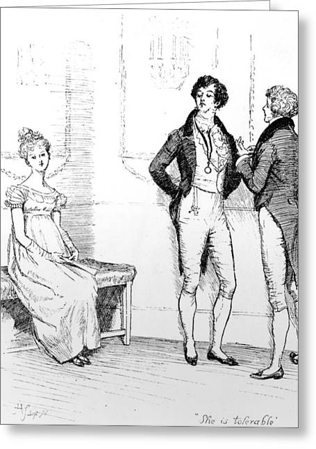First Love Drawings Greeting Cards - Scene from Pride and Prejudice by Jane Austen Greeting Card by Hugh Thomson