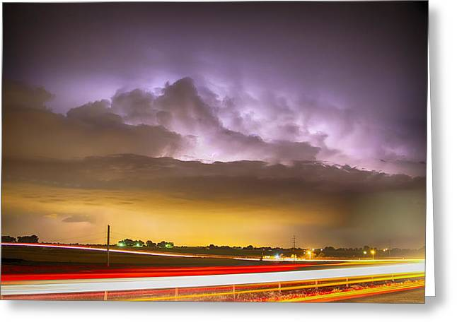 Storm Prints Photographs Greeting Cards - 25 to 34 Intra-Cloud Lightning Golden Light Car Trails Greeting Card by James BO  Insogna
