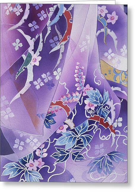 Purple Robe Greeting Cards - Skiyu Purple Robe Greeting Card by Haruyo Morita