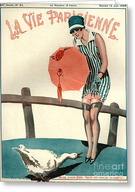 Geese Drawings Greeting Cards - 1920s France La Vie Parisienne Magazine Greeting Card by The Advertising Archives