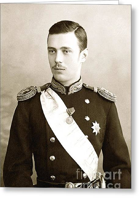 Alexandrovich Greeting Cards - 256. Grand Duke George Alexandrovich of Russia 1891 Print Greeting Card by Royal Portraits