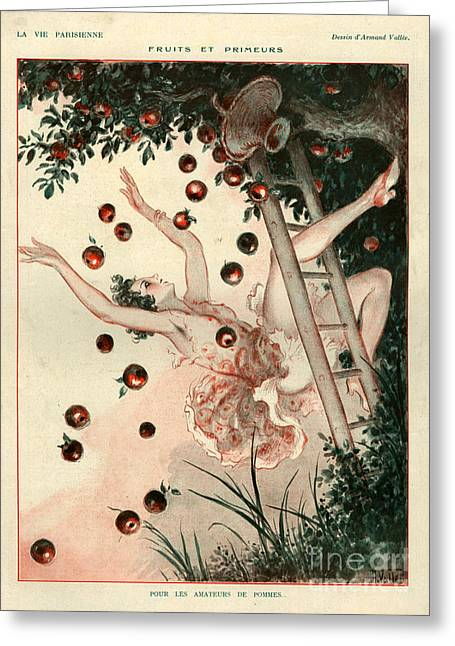 Picking Drawings Greeting Cards - 1920s France La Vie Parisienne Magazine Greeting Card by The Advertising Archives