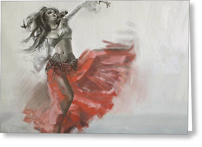 Belly Greeting Cards - Belly Dancer 4 Greeting Card by Corporate Art Task Force