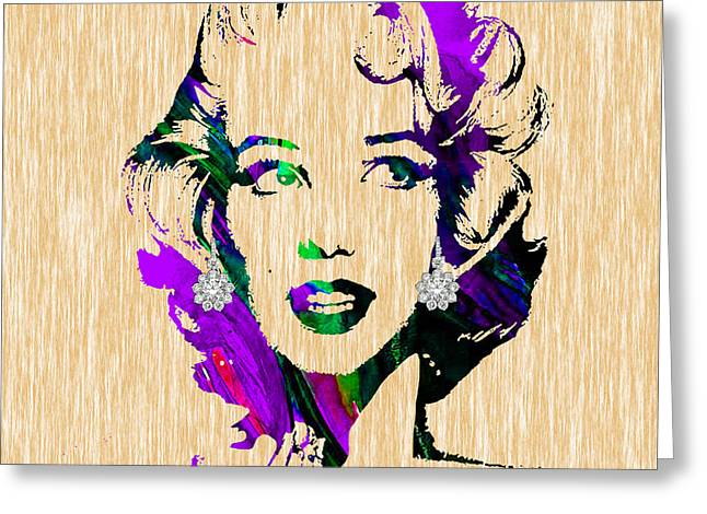 Pop Greeting Cards - Marilyn Monroe Diamond Earring Collection Greeting Card by Marvin Blaine