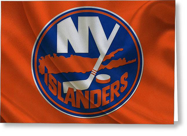 Skates Greeting Cards - New York Islanders Greeting Card by Joe Hamilton