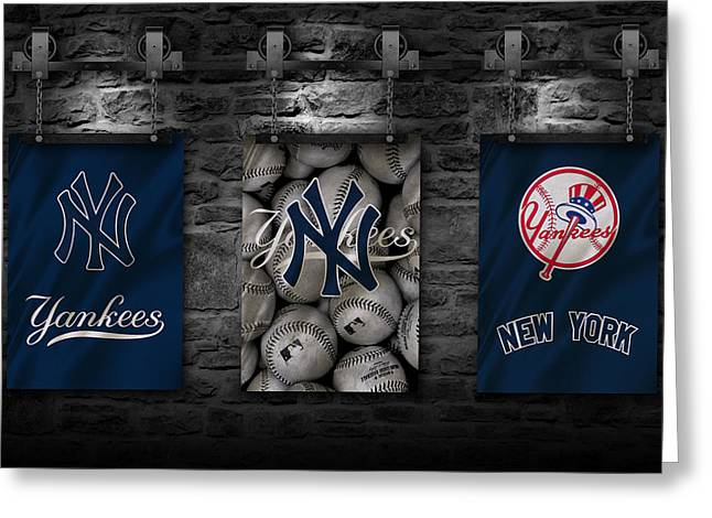 Glove Greeting Cards - New York Yankees Greeting Card by Joe Hamilton