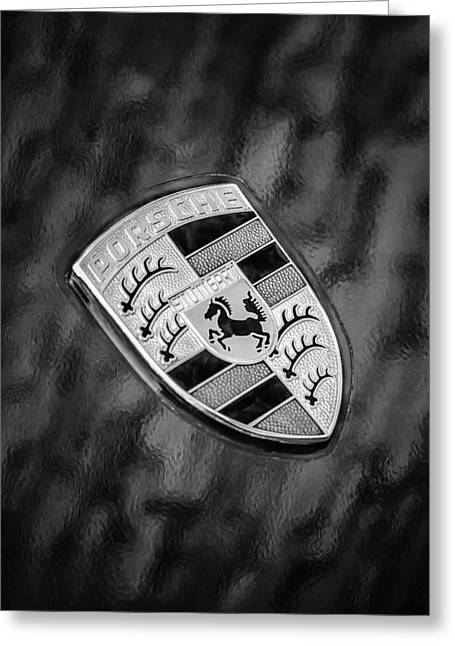 Black And White Image Greeting Cards - Porsche Emblem Greeting Card by Jill Reger