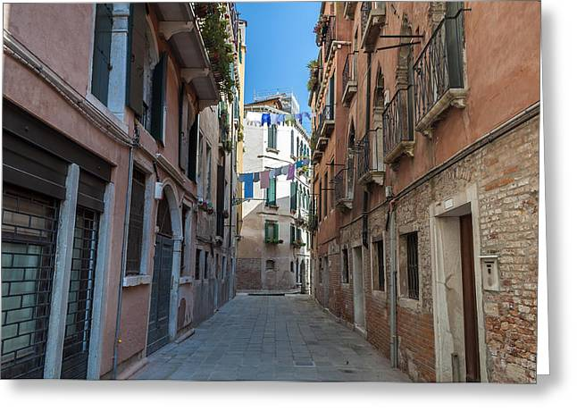 Hanging Laundry Greeting Cards - Venice. Italy. Greeting Card by Fernando Barozza