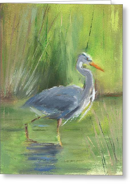 Grey Heron Greeting Cards - RCNpaintings.com Greeting Card by Chris N Rohrbach