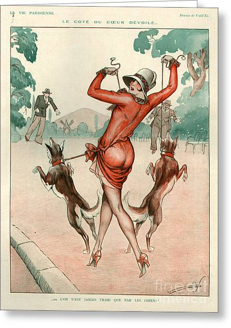 Dog Walking Drawings Greeting Cards - 1920s France La Vie Parisienne Magazine Greeting Card by The Advertising Archives