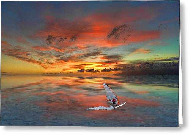 Windsurfer Greeting Cards - 2645 Greeting Card by Peter Holme III