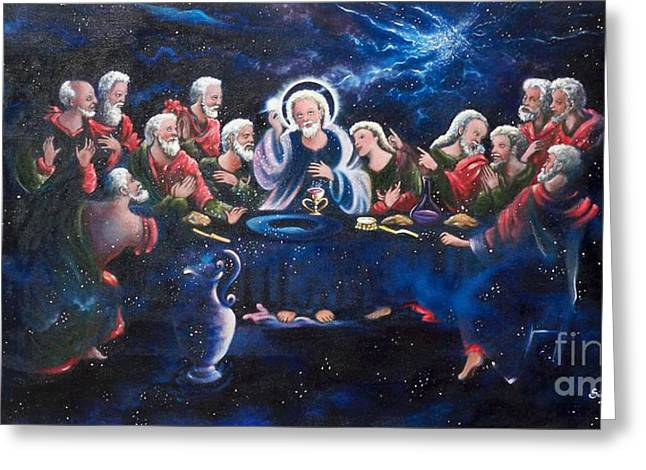 Surreal Church Greeting Cards - 266  The Lords Supper Greeting Card by Sigrid Tune