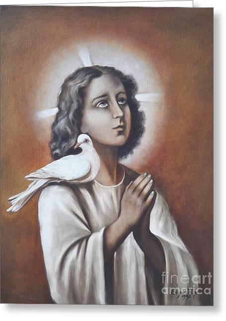 Boy Praying Greeting Cards - 267 Jesus as a Boy Greeting Card by Sigrid Tune