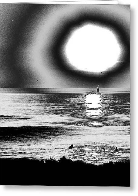 Santa Cruz Sailboat Greeting Cards - 26th St Beach Greeting Card by Daniel Brodell-Lake