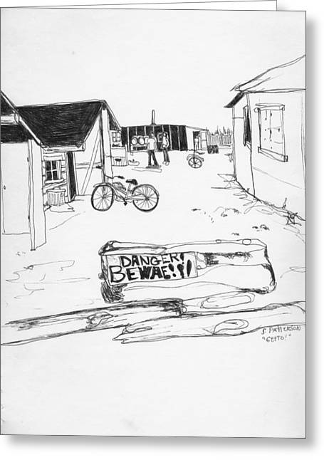 Ghetto Drawings Greeting Cards - 26th street FBAK Greeting Card by Sarah Hamilton