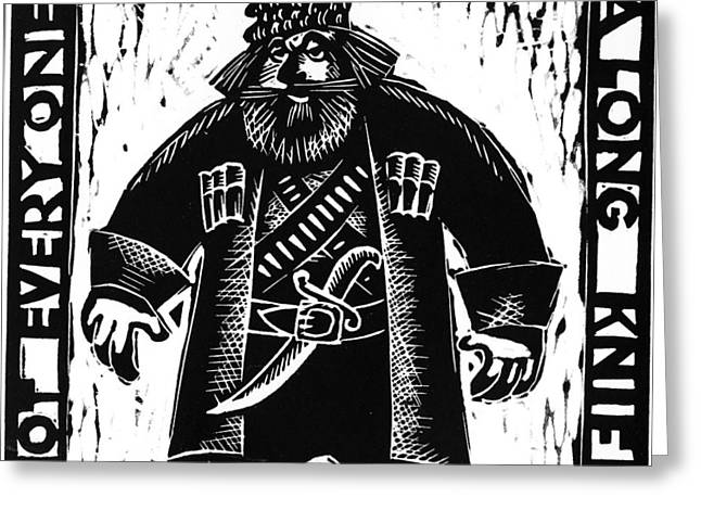 Linocut Greeting Cards - American  proverbs Greeting Card by Mikhail Zarovny