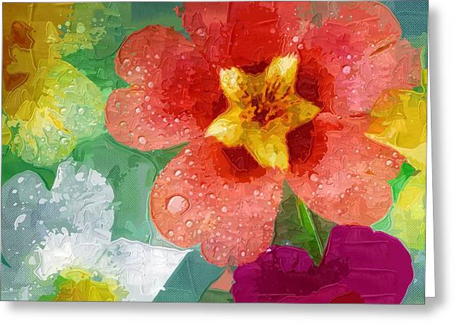 Prints Of Flowers Greeting Cards - beautiful Paintings Of Flowers Greeting Card by Victor Gladkiy