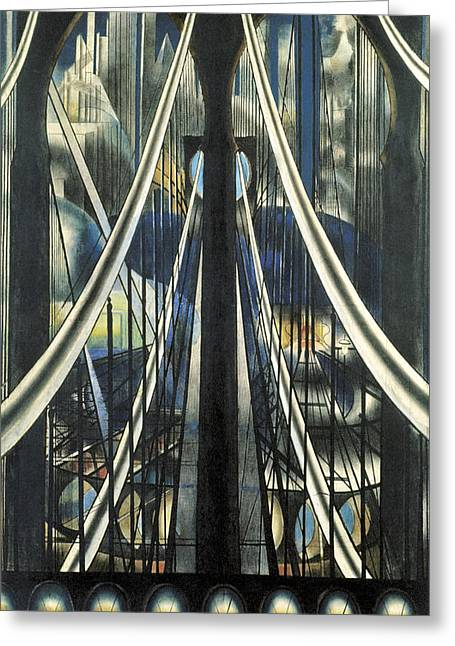 Industrial Icon Paintings Greeting Cards - The Bridge New York Greeting Card by Joseph Stella