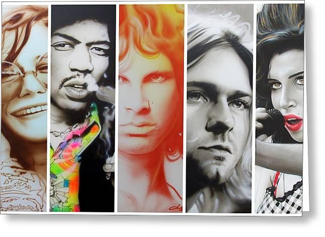 Jimi Hendrix, Kurt Cobain, And Amy Winehouse Collage - '27 Eternal' Greeting Card by Christian Chapman Art