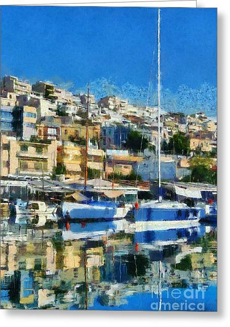 Greece Greeting Cards - Reflections in Mikrolimano port Greeting Card by George Atsametakis