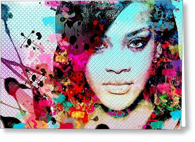 Rihanna Paintings Greeting Cards - Rihanna Greeting Card by Bogdan Floridana Oana