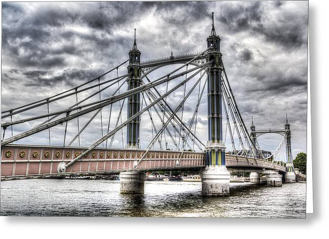 Chelsea Greeting Cards - The Albert Bridge London Greeting Card by David Pyatt