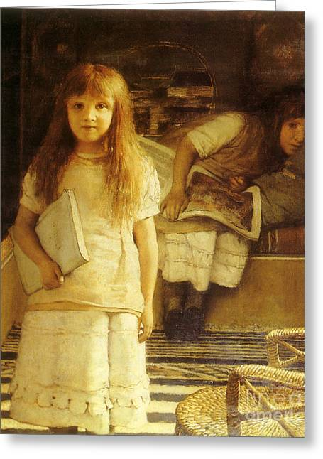 Girl Reading Secret Book Greeting Cards - Victorian art piece Greeting Card by Indian Summer