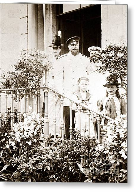 Alexandrovich Greeting Cards - 271. Tsar Alexander III of Russia and his family at Gatchina 1885 Greeting Card by Royal Portraits
