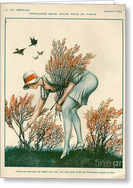 Picking Greeting Cards - 1920s France La Vie Parisienne Magazine Greeting Card by The Advertising Archives