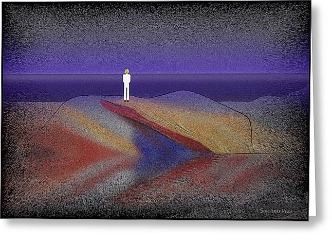 White Suit Greeting Cards - 276 -  Man looking at the ocean   Greeting Card by Irmgard Schoendorf Welch
