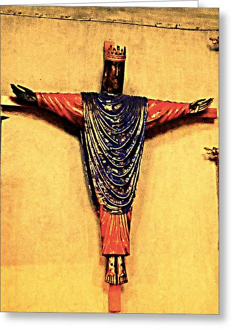 Christmas Greeting Pyrography Greeting Cards - Church Jesus  Greeting Card by Girish J