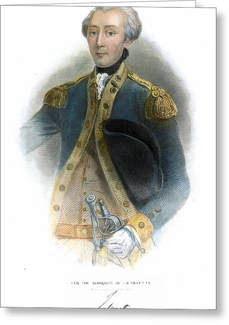 Autograph Greeting Cards - MARQUIS de LAFAYETTE Greeting Card by Granger