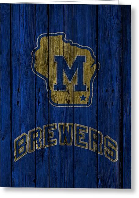 Glove Greeting Cards - Milwaukee Brewers Greeting Card by Joe Hamilton
