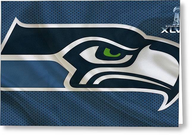 Seattle Greeting Cards - Seattle Seahawks Greeting Card by Joe Hamilton