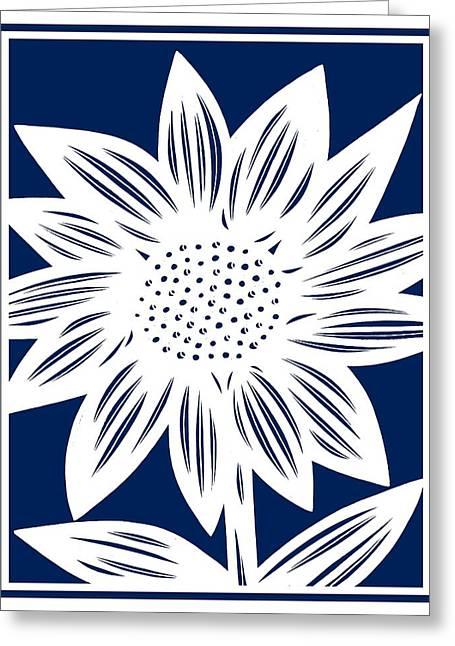 Print Greeting Cards - Labore Sunflower Blue White Greeting Card by Eddie Alfaro