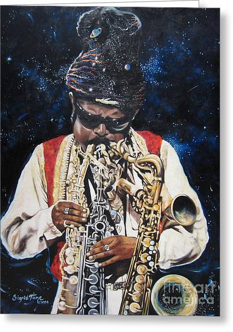 Blinds Greeting Cards - 285  Rahsaan Roland Kirk  Greeting Card by Sigrid Tune